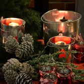 Pinecones and Votive Candles