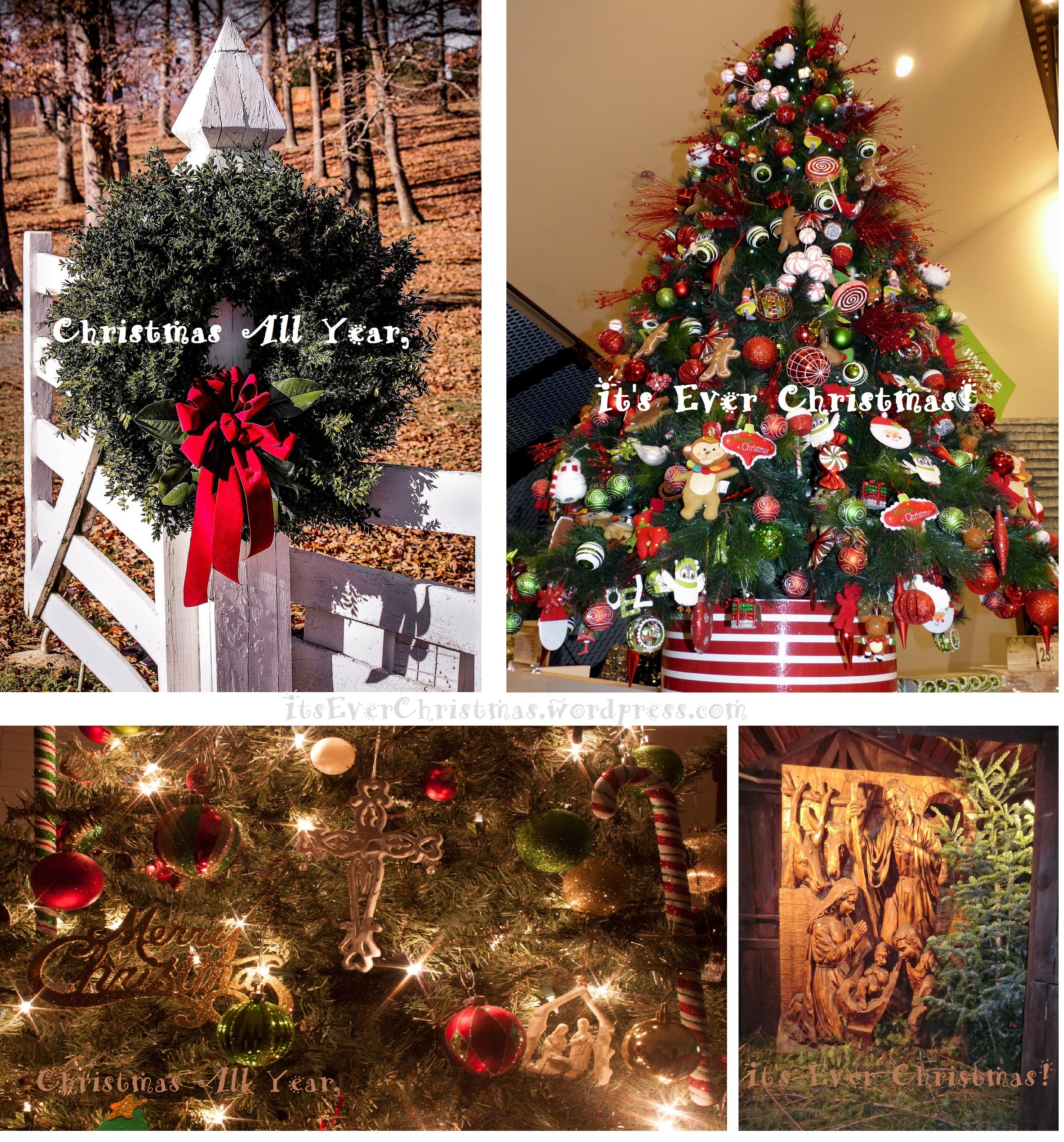 Christmas Wreath Trees Cross Nativity