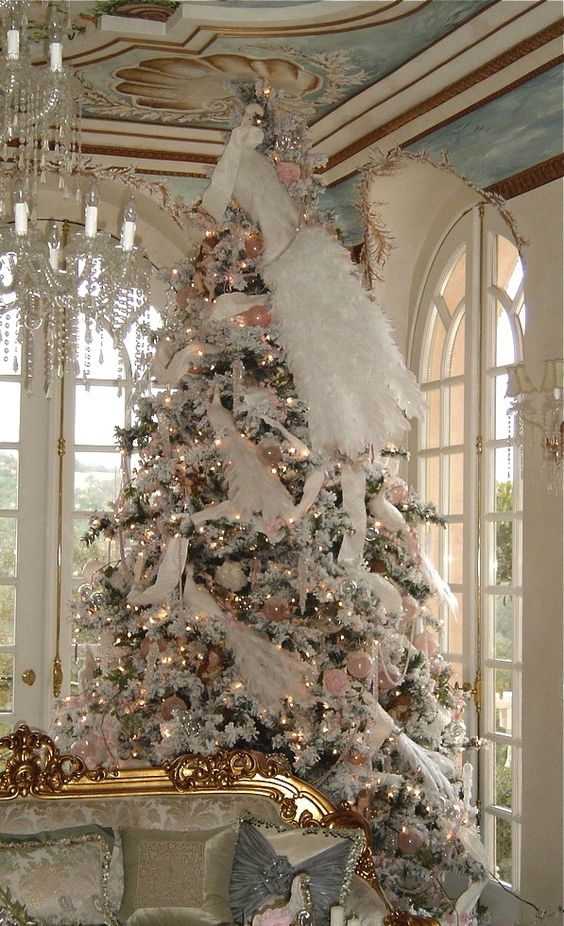 Christmas tree, Victorian-White & Pink decor, Christmas lights,