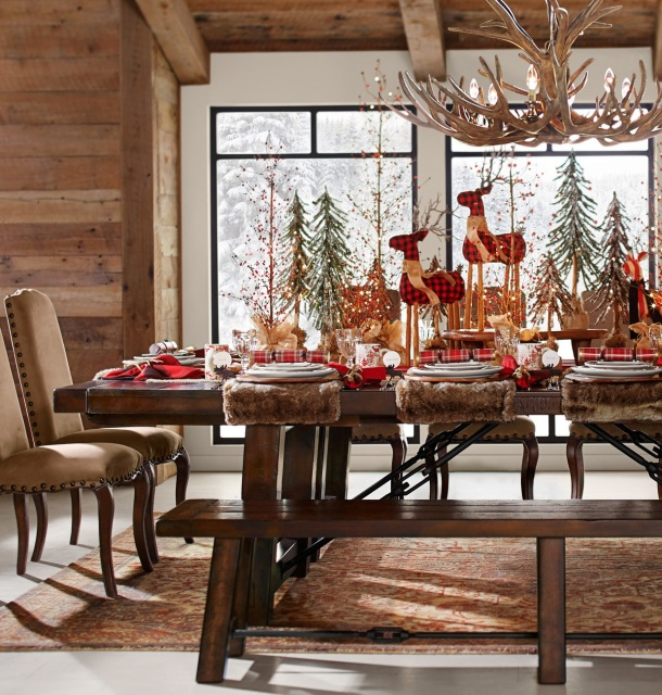 Dinig Table scene featuring deer, trees, plush place mats, moose and holiday-trees mugs