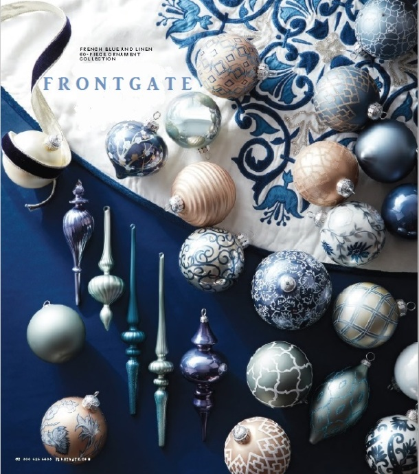 French Blue Linen Ornament Collection - Frontgate 2016 Catalog