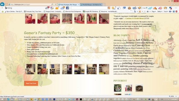 page-party-packages-text-copy-images-olive-headers-links-created-updated-by-michelle-boddie-website-designer-editor-e
