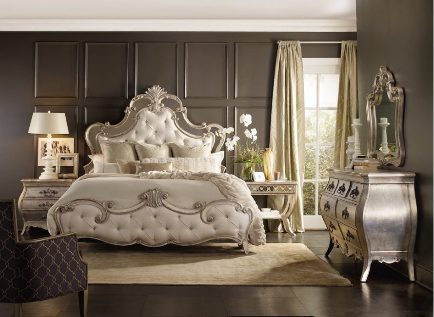 Sanctuary Upholstered Panel Bed by Hooker Furniture, Glam Bedroom Design from Wayfair