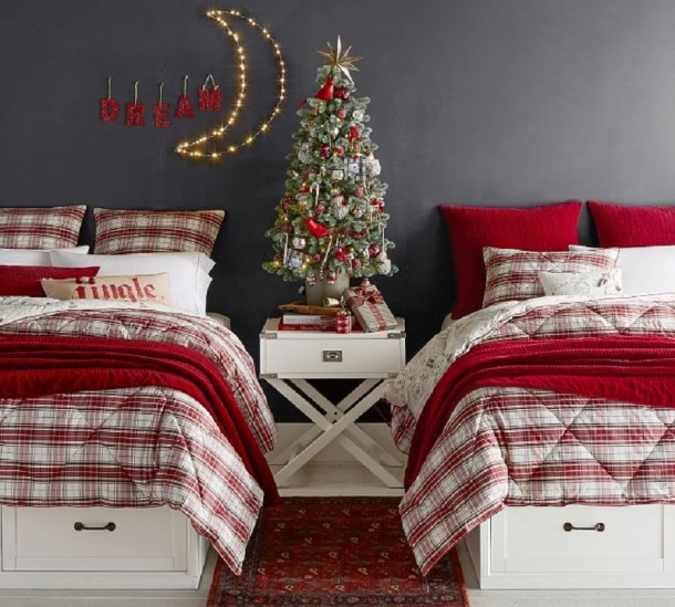 Hannon Plaid Reversible Comforter, from Pottery Barn
