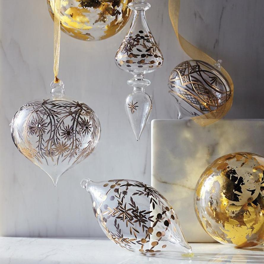 Gold Foil Ornaments Set by Frontgate