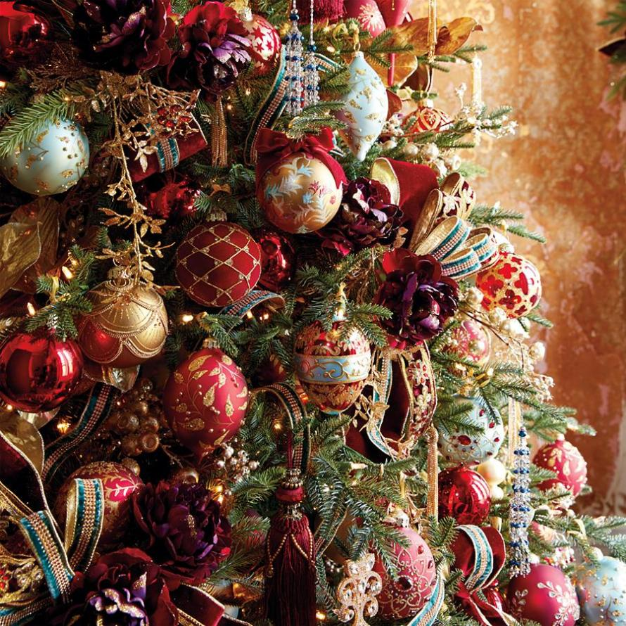 Red, Blue, Gold, Silver Versailles Ornament Collection on Christmas