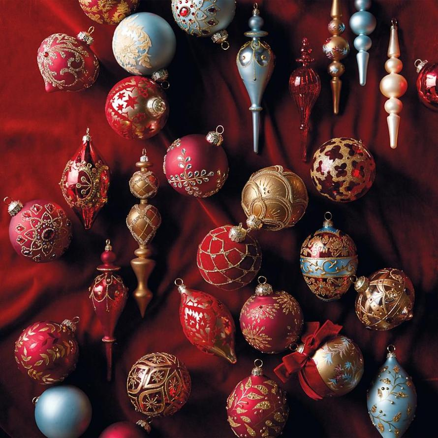 Red, Blue, Gold, Silver Versailles Ornament Collection