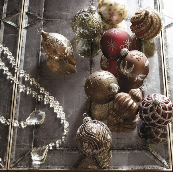 Christmas Decor - Ornaments - Copper, Coffee Bean, Silver colors